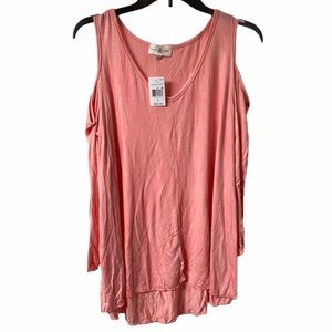 5/$15 Thyme & Honey peach cold shoulder top 2x